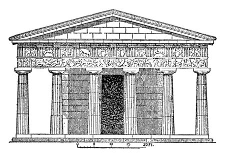 Temple at Assus, It is situated in Mount Ida in Phrygia, Much of the surrounding area, it is in the east, Encyclopaedia Britannica,  vintage line drawing or engraving illustration. Ilustração