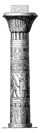 Pillar at the Temple at Edfu, post, stalk, support, temple, edfu, diminishing triangles, vintage line drawing or engraving illustration. 向量圖像