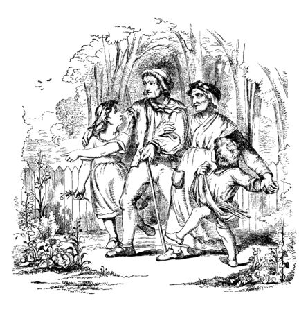 People are walking in a dense forest, vintage line drawing or engraving illustration.