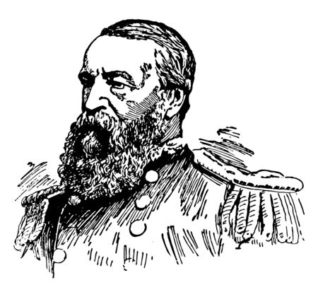 David D. Porter, 1813-1891, he was a United States Navy admiral and a member of one of the most distinguished families in the history of the U.S. Navy, vintage line drawing or engraving illustration Çizim
