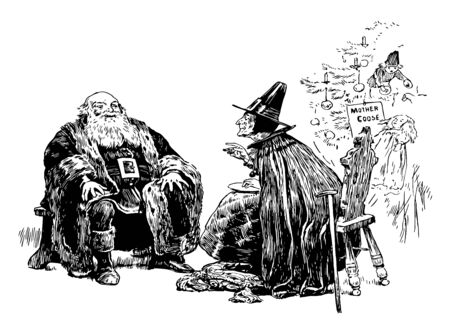 There is a Santa Clause & mother goose both are sitting in front of each other. Mother goose is wearing a hat, vintage line drawing or engraving illustration. Illusztráció