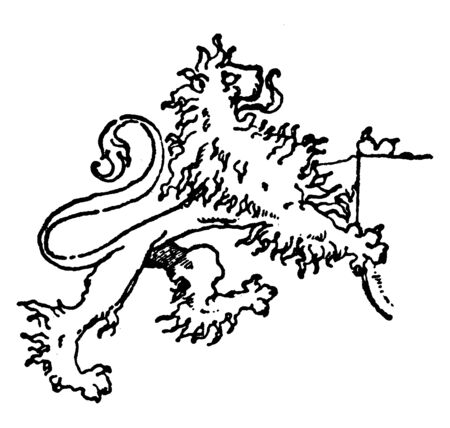 Lion Supporting a Shield is a modern mural decoration, vintage line drawing or engraving illustration.