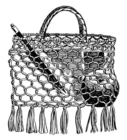 A school-bag make of string, A book bag may be made like a button bag, it is a common tool in the form of a non-rigid container, vintage line drawing or engraving illustration. Imagens - 133003664