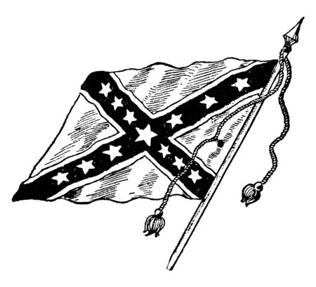The Confederate Battle Flag, this flag has dark saltire with white outline, 13 five pointed stars inside the saltire, vintage line drawing or engraving illustration`