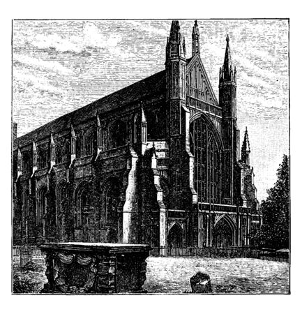 Westminster Cathedral or Gothic cathedral, situated in Hampshire, vintage line drawing or engraving illustration.