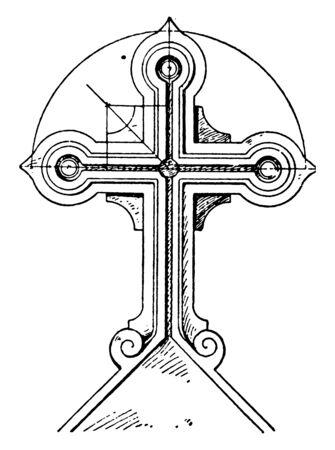 Tomb Cross found in Montpellier, Dartmoor, Devon, Childe, vintage line drawing or engraving illustration.