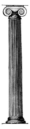 Ionic Pillar in the Erechtheum at Athens, Ionic, Erechtheum, Athens, post, support, vintage line drawing or engraving illustration. Archivio Fotografico - 133003605