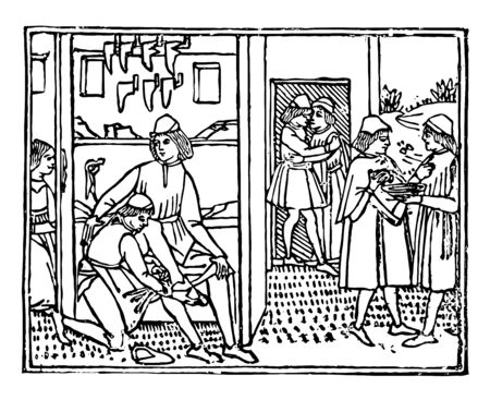 A Bootmakers Shop from the Decameron printed in 1492 by Giovanni Boccaccio, vintage line drawing or engraving illustration.