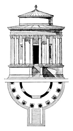 Temple of Vesta, Tivoli,  the early first century BCE,  widely admired since the Renaissance, the acropolis of the Etruscan, vintage line drawing or engraving illustration.