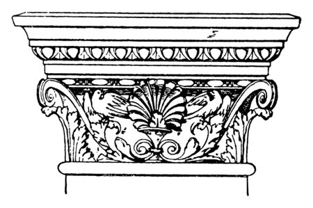 Corinthian Pilaster Capital, northwestern, Indian, subcontinent,  Hellenistic, Indian, elements, vintage line drawing or engraving illustration.