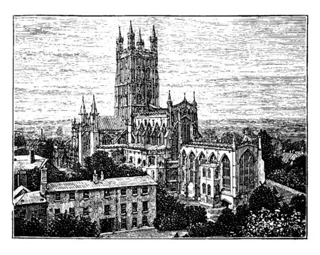 Gloucester Cathedral (Abbey) Church, style of Gothic architecture, four graceful pinnacles, a famous landmark,  temple, worship, vintage line drawing or engraving illustration. Иллюстрация