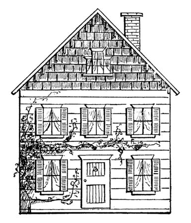 Drawing a House 3 is the third step consists weight and cost of steel members, its perspective with a vanishing point, vintage line drawing or engraving illustration. Illusztráció
