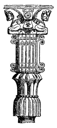 Persian Capital, reconstruction, Persepolis, Coste, base, fluted, vintage line drawing or engraving illustration.