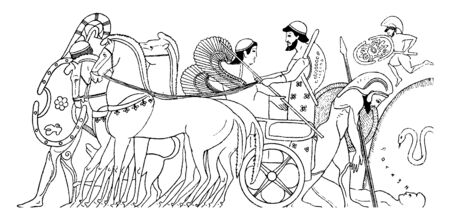 Achilles sitting on a horse chariot. In Greek mythology, horse name was Hector which in fact was a Trojan Prince and fighter, vintage line drawing or engraving illustration.