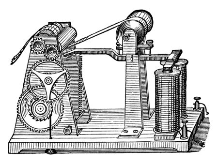This illustration represents Morse Register which used to record Morse code on a roll of paper, vintage line drawing or engraving illustration. Illusztráció