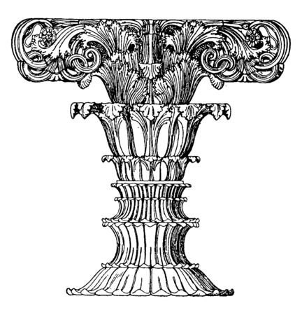 Finial Foliated Shaft, Athens, Choragic, design, Finial, foliated, Lysikrates, monument, vintage line drawing or engraving illustration. Illustration