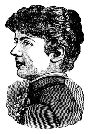 Frances Cleveland, 1864-1947, she was the first lady the United States from 1886 to 1889 and again from 1893 to 1897, vintage line drawing or engraving illustration Çizim