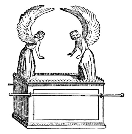 An ancient picture of the Ark of the Covenant which is a sacred chest made by the ancient Israelites according to the command and design of God, vintage line drawing or engraving illustration. Illustration