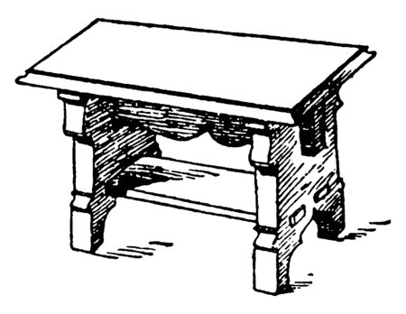 Middle Age bench can also be used as table too, has a small slab connecting legs of the table, vintage line drawing or engraving illustration