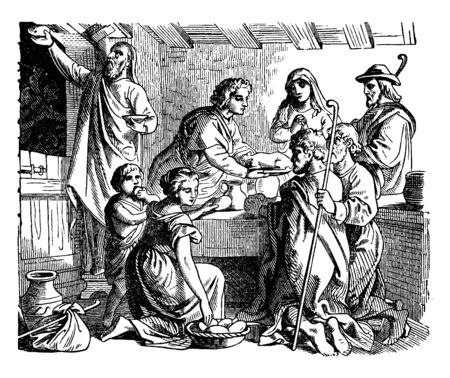 Hebrew family came together for celebrating the first Passover. They gathered together around table. They had food on table, vintage line drawing or engraving illustration. Ilustração