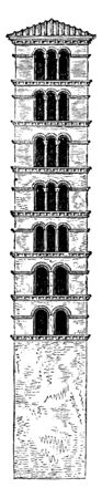 Tower of Santa Maria in Cosmedin, is a basilica church in Rome,  the remains of the Templum Herculis Pompeiani,  roman architecture, vintage line drawing or engraving illustration.