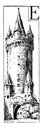 Castle, scope of the word, private fortified residence of a lord or noble, distinct from a palace, vintage line drawing or engraving illustration.