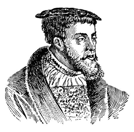 Charles V, 1500-1558, he was the Holy Roman Emperor, the king of Spain, and the emperor of Germany, vintage line drawing or engraving illustration
