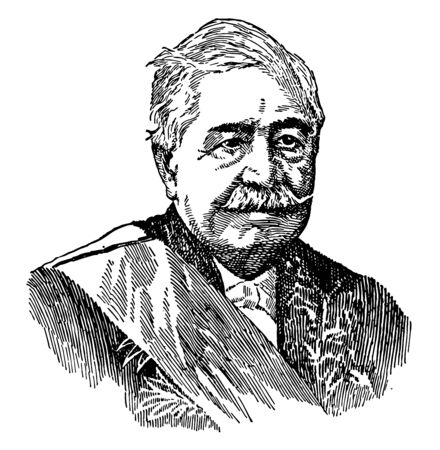 Count Ferdinand de Lesseps, 1805-1894, he was a French diplomat and later developer of the Suez Canal, vintage line drawing or engraving illustration Illusztráció