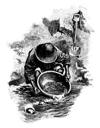 This illustration represents Washing Gold, vintage line drawing or engraving illustration.