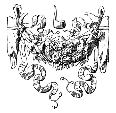 Roman Festoon is a bouquet of fruit shown between two animal skulls, vintage line drawing or engraving illustration.