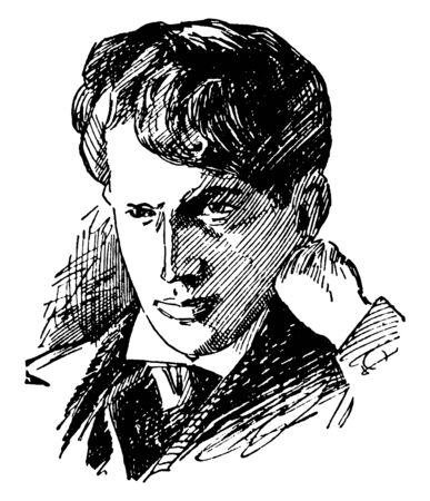 Stephen Crane, 1871-1900, he was an American poet, novelist, and short story writer, vintage line drawing or engraving illustration Foto de archivo - 133024326