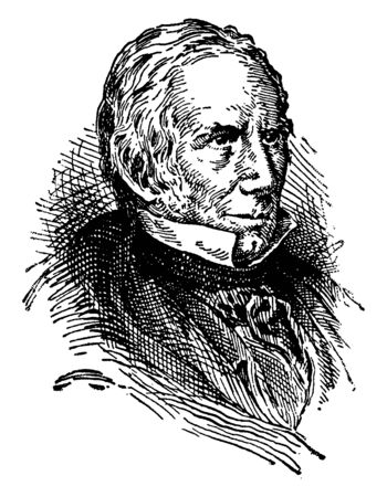 Henry Clay, 1777-1852, he was an American lawyer, statesman, skilled orator, United States senator from Kentucky and speaker of U.S. house of representatives, vintage line drawing or engraving illustr