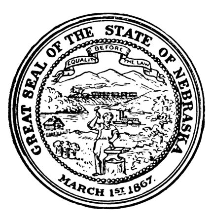 The Great Seal of the State of Nebraska, 1867. this seal has a steamboat on River, a train, a cabin, and a blacksmith, The banner holds the state motto Equality Before the Law, vintage line drawing or engraving illustration Illustration