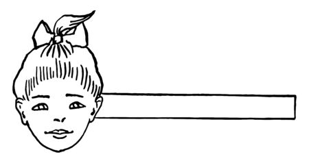The children's heads girl say Will you play with me, it is a paper craft work, vintage line drawing or engraving illustration.