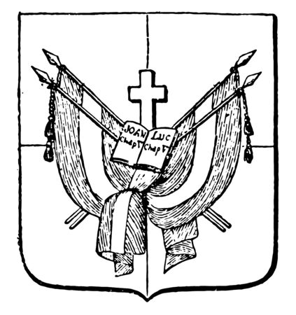 Dominican Republic Coat of Arms have a flag, vintage line drawing or engraving illustration. Ilustracja