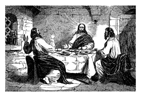 Jesus appears to his disciples at dinner, vintage line drawing or engraving illustration.