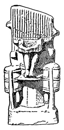 Pottery Model of the Water Organ is a early types are sometimes called hydraulis, it is a type of automatic pipe organ blown by air, vintage line drawing or engraving illustration.