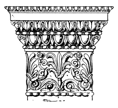 Greek Doric Pilaster Capital, Abacus, ancient, Greek, Athens, capital, egg, dart, erechtheum, vintage line drawing or engraving illustration. Archivio Fotografico - 133004702