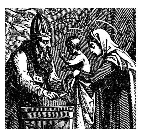 La sainte famille en route pour l'Égypte alors qu'elle fuit le roi Hérode, dessin de ligne vintage ou illustration de gravure. Vecteurs