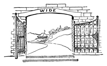 Gate, entry, space, walls, opening, fence, Passage, vintage line drawing or engraving illustration