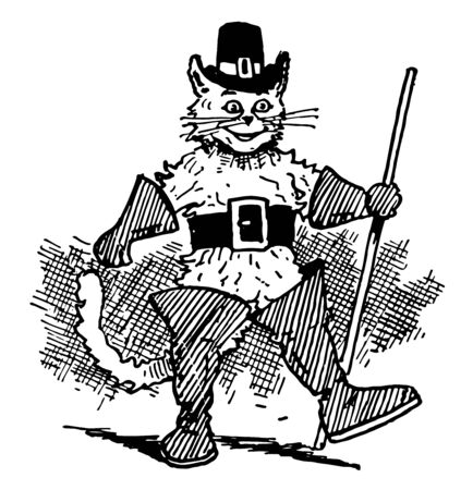 A cat dressed up with hat on head and boots, holding stick and walking, vintage line drawing or engraving illustration 向量圖像