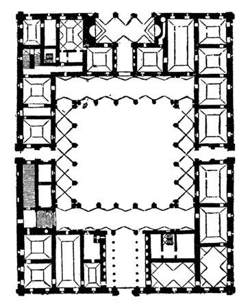 Plan of Farnese Palace, High Renaissance palace, Palazzo Farnese, important Renaissance architect, vintage line drawing or engraving illustration. Reklamní fotografie - 133024354