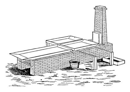 This illustration represents Intermittent evaporation process which is made in the form of a shallow box, vintage line drawing or engraving illustration.