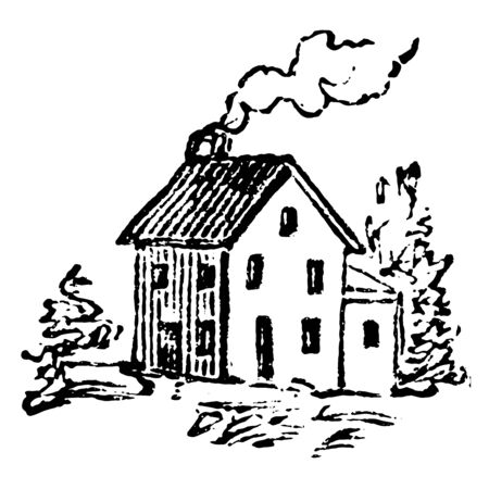 This image illustrates the small house, which has a chimney from which the smoke the coming out. The front wall of this house has many windows, vintage line drawing or engraving illustration.