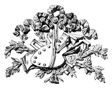 Door-Head Symbol is made out of carved wood, it is a French design, vintage line drawing or engraving.