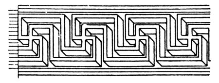 Parallel Fret Band is a pattern that is parallel in perspective, it was found in a Roman mosaic pavement, vintage line drawing or engraving. Stock Illustratie