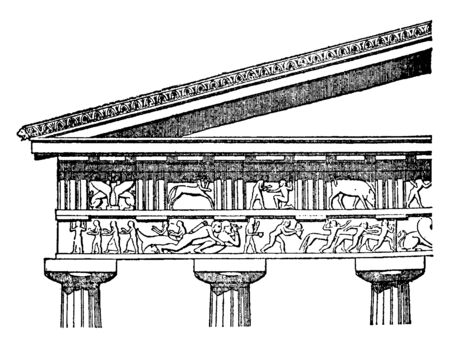 Doric Entablature, the proportions of the column, epistyle or architrave, frieze, cornice, Renaissance interpretations, vintage line drawing or engraving illustration. Archivio Fotografico - 133002932
