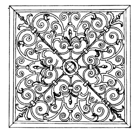 Wrought-Iron Square Panel was designed in 1713 in Oxford, vintage line drawing or engraving illustration.