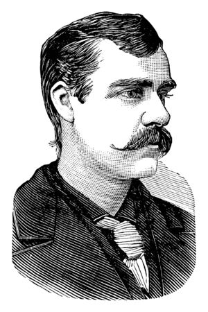Charles Courtney, 1849-1920, he was an American rower and rowing coach from Union Springs, New York, famous as the Knight of the spruce, vintage line drawing or engraving illustration