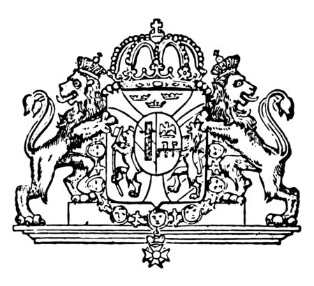 Swedish Coat of Arms is a European coat, vintage line drawing or engraving illustration. Illusztráció